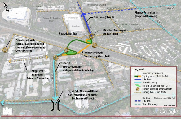 The proposed over-crossing alignments between Clarke Ave & Newell Rd